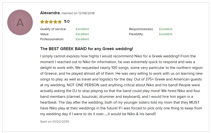 Alexandra and David Wedding Review | Greek wedding Orchestra NY